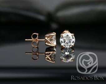 Rosados Box Donna 7mm 14kt Rose Gold Round F1- Moissanite Leaf Gallery Basket Stud Earrings