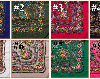 Russian shawl Different colors. Floral chale russe, Chic scarf, Mantón hustka. Babushka head scarf Fringed Shawls Platok