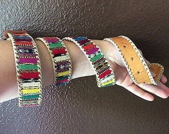 Vintage Handmade Tribal Leather Belt with Bright Textiles-Size 38-Large-Unique Colorful Belt