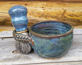 Men's Pottery, Shaving Mug with Brush, Shave Mug, Shaving set, Gift for Dad, Pottery Shave Mug, Blue Shave Mug, Father's Day Shave Set