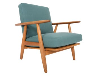 Danish Mid Century Modern Hans Wegner GE-240 Oak Lounge Chair