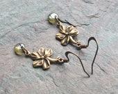 "Antique Brass Flower Earrings / One-of-a-Kind / Green Czech Glass Disc Beads / Drop / Dangle - 1 5/8"" long"