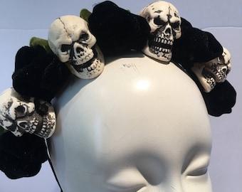Day of the Dead- Skull Headband- Skull headdress- Halloween skull headpiece - Halloween- Dia de los Muertos- Skelton headband- Music Fest