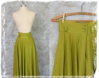 Vintage High Waist Maxi Skirt, 1980s Skirt, Midi Skirt, Takezo Skirt, Chartreuse, Small, Full Skirt
