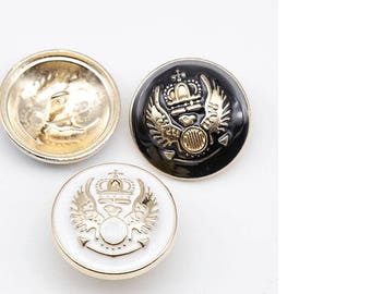 6 Pcs 0.59~0.91 Inches Fashion British White/Black+Gold Wing Crown Metal Shank Buttons For Coats