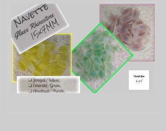 15x7MM, Navette, Marquis, Glass, Rhinestone, Yellow, Peridot, Green, Amethyst, Purple, Opal, Givre, Faceted, 36, 72,