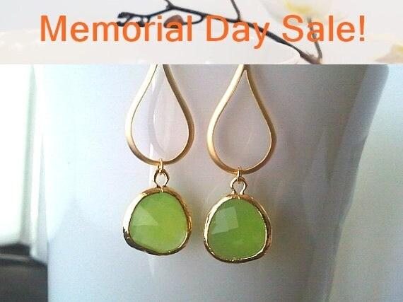Peridot Earrings, Gold Water Drop, Peridot Opal Dangle Earrings,  Wedding Jewelry Bridesmaid Jewelry Bridal Gift