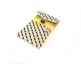 smartphone case quilted graphic fabric-iphone sleeve pastel grey and yellow-canvas phone case for woman