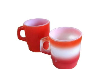 2 vintage milk glass mugs, Anchor Hocking red and Fire King orange and red ombre