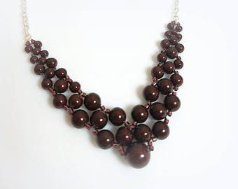 maroon burgundy Swarovski crystal pearl necklace graduated pearl bib necklace woven beadwork jewelry necklaces for women gifts for her