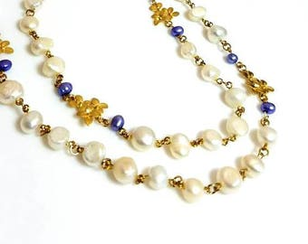 Multi Strand White Freshwater Pearl Gold Flower Necklace Unique Purple Pearl Floral Necklace Long Beaded Chain Jewelry Necklaces for Women