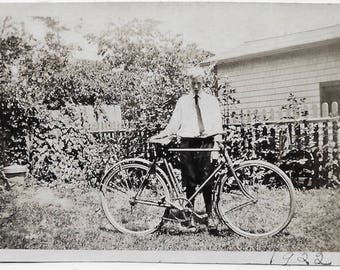Old Photo Boy with His Bicycle in Yard 1920s Photograph Snapshot vintage