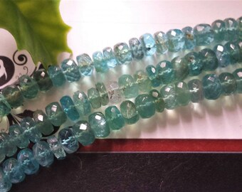 """Natural Apatite Faceted Rondelle Big Beads,7 mm or 8 mm,Quality A+, 2,4 or 6 """" long strand,Gemstone Beads, Jewelry Supplies"""