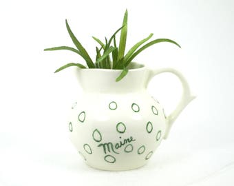 Maine Souvenir Pitcher - Green Polka Dots - Handmade Ceramic