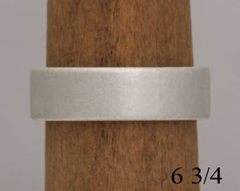Flat sterling silver band, brushed texture, size 6 3/4 and custom sizes, #749.