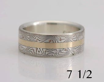 Mokume gane band, silver, copper and 14k yellow gold, size 7 1/2, #678.