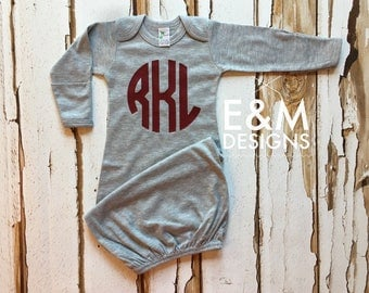 Baby Boy Coming Home Outfit/ Personalized Infant Baby Gown and Hat/ Monogrammed Baby Boy/ Baby Shower Gift/ Newborn Pictures/Navy and Maroon