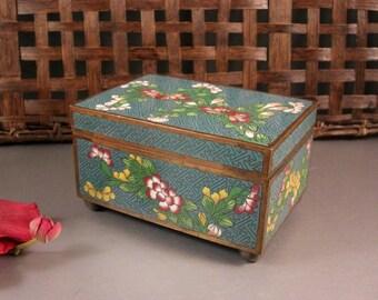 Hinged Cloisonne Jewelry Trinket Card Stash Cigarette Box / Floral
