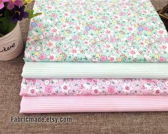 Tiny White Flower Fabric On Pink Aqua Green Cotton Shabby Chic Cotton for Quilting Dress- 1/2 Yard
