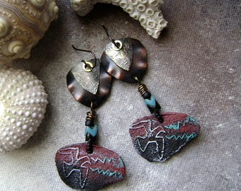 handcrafted mixed metal earrings with Petroglyph designs, rustic tribal jewelry, assemblage earrings, unique artisan ceramic, AnvilArtifacts
