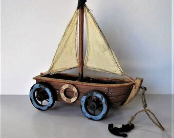 """Vintage Sailboat pull toy, Distressed Wood Pull Toy, Beach Cottage Decor, 7 1/2"""" x 8"""", Nursery Decor, gift idea"""