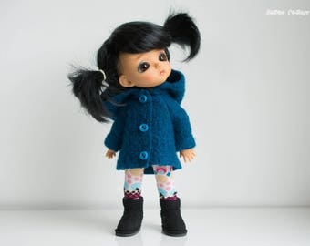 Peacock blue pure boiled wool coat with hood to fit lati yellow, pukifee and Middie Blythe size dolls