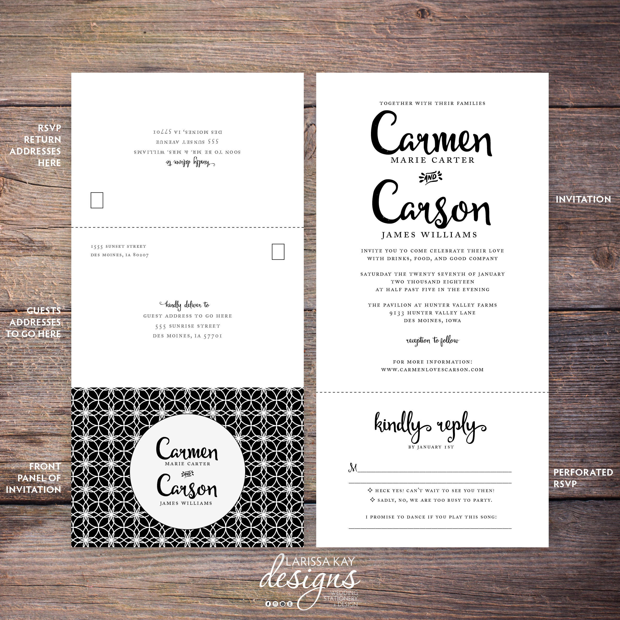 Printable Classic Black and White Seal and Send Wedding Invite Send
