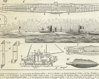Sous marins vintage 1897 Gravure ancienne de sous marins Poster de torpilleurs Cadeau pour homme Déco de marine Cadeau pour marin