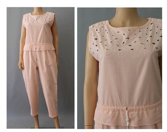 1980s Cotton Romper Jumpsuit aprikose