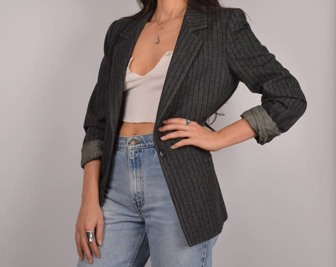 Vintage Pinstriped Gray Blazer