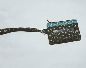 Zippered Wristlet, ID Pocket Wristlet, Teal and Black Wristlet, Floral Wristlet