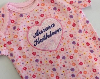 Hearts and Flowers Onesie - Custom with Name - Applique Heart - Fairy Frost Fabric
