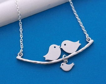 Love Birds Necklace Kissing Birds on the branch necklace couple and baby Family Necklace
