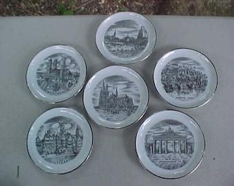 set 6 Reutter Porzellan  West Germany transfer coasters