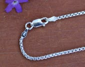 28 inch Round Box Italian Sterling Silver Chain Necklace with Sterling Lobster Claw Clasp