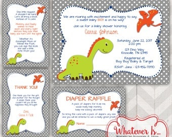 Dinosaur Baby Shower Invitation Bundle