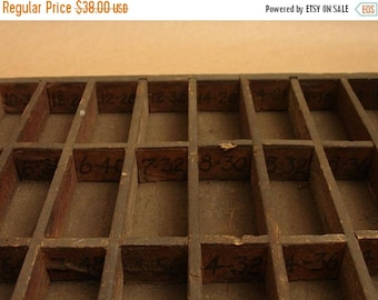 ON SALE antique turn of century handmade wooden numbered divided box tray, primitive