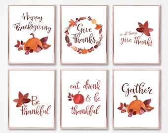 THANKSGIVING PRINT BUNDLE - 10 prints - Instant Download/Printable (Happy Thanksgiving/Gather/Be Thankful/Happy Harvest/Fall)