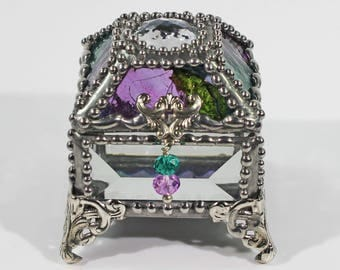 Glass Jewel, Ring Box, Engagement Ring Box, Presentation Box, Wedding Box, Faberge Style, Treasure box, Beveled