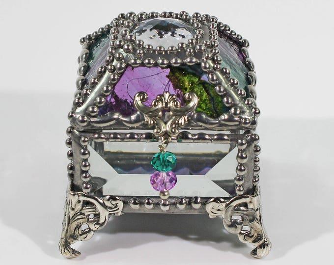 Glass Jewel, Ring Box, Engagement Ring Box, Presentation Box, Wedding Box, Faberge Style, Treasure box, Beveled