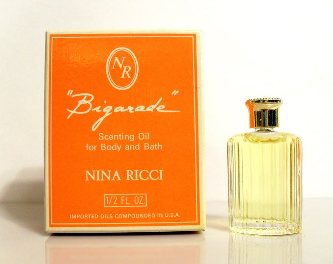 Vintage 1970s Bigarade by Nina Ricci 0.5 oz Scenting Oil Splash Factice Bottle and Box PERFUME