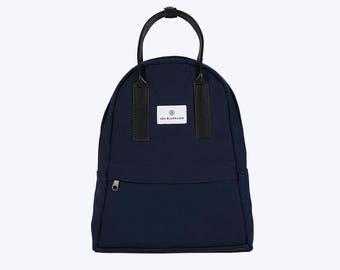 NO. 13 Backpack, Blue Canvas Backpack, Blue Backpack, Women Backpack, Kid Backpack, 12 Inch MacBook Backpack, Laptop Backpack