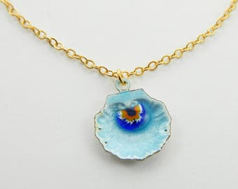 Blue Painted Seashell Necklace