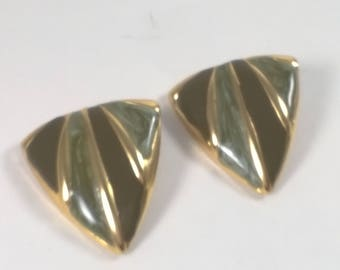Vintage Large Gold Enamel Earrings - Green Triangle Pierced Button Fashion Jewelry - 1980s