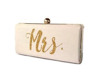 Blush Personalized wedding clutch/ Pink gold glitter minaudiere/ Bridal shower clutch/ Summer wedding purse/ Monogrammed blush minaudiere