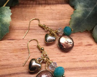 Earrings, bronze pearl, Gold tone heart, clear and turquoise Crystal, Hook Ear Wire, Free shipping, USA, #81