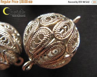 SALE Handmade Filigree Beads Silver Plated Copper Hollow Ball large 19mm (1pc)