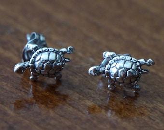 Turtle Stud Earrings- Sterling Silver- Beach Jewelry- Ocean Jewelry- Ocean Earrings- Stud Earrings- Sterling Silver