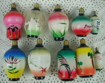 Vintage Glass Japanese Lanterns, Set of 8+ Light Bulbs, Hand Painted,  Garden Party, Garden Wedding, Romantic