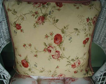 Vintage Toss Pillow, Occasional Pillow, Buttercream Yellow with Red and Pink Roses, Green Leaves, Red and Cream Piping, With Feather Insert
